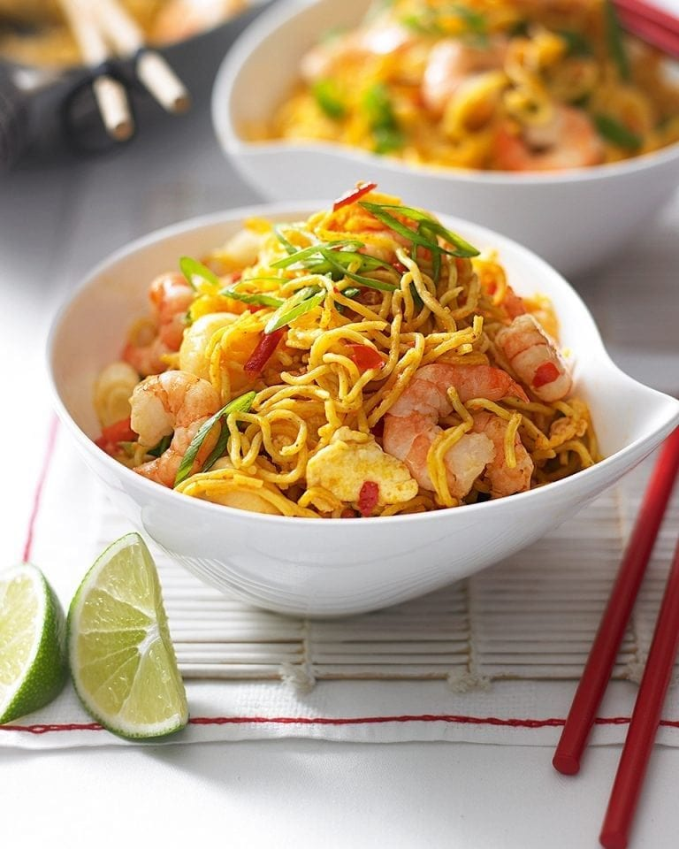 Cheat's spicy prawn Singapore noodles