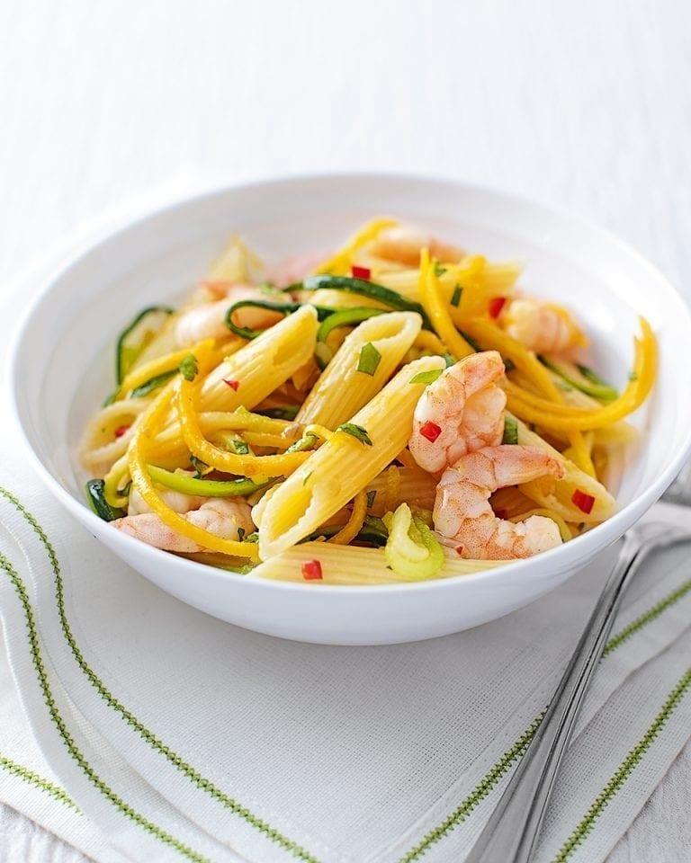 Quick prawn, courgette and squash pasta