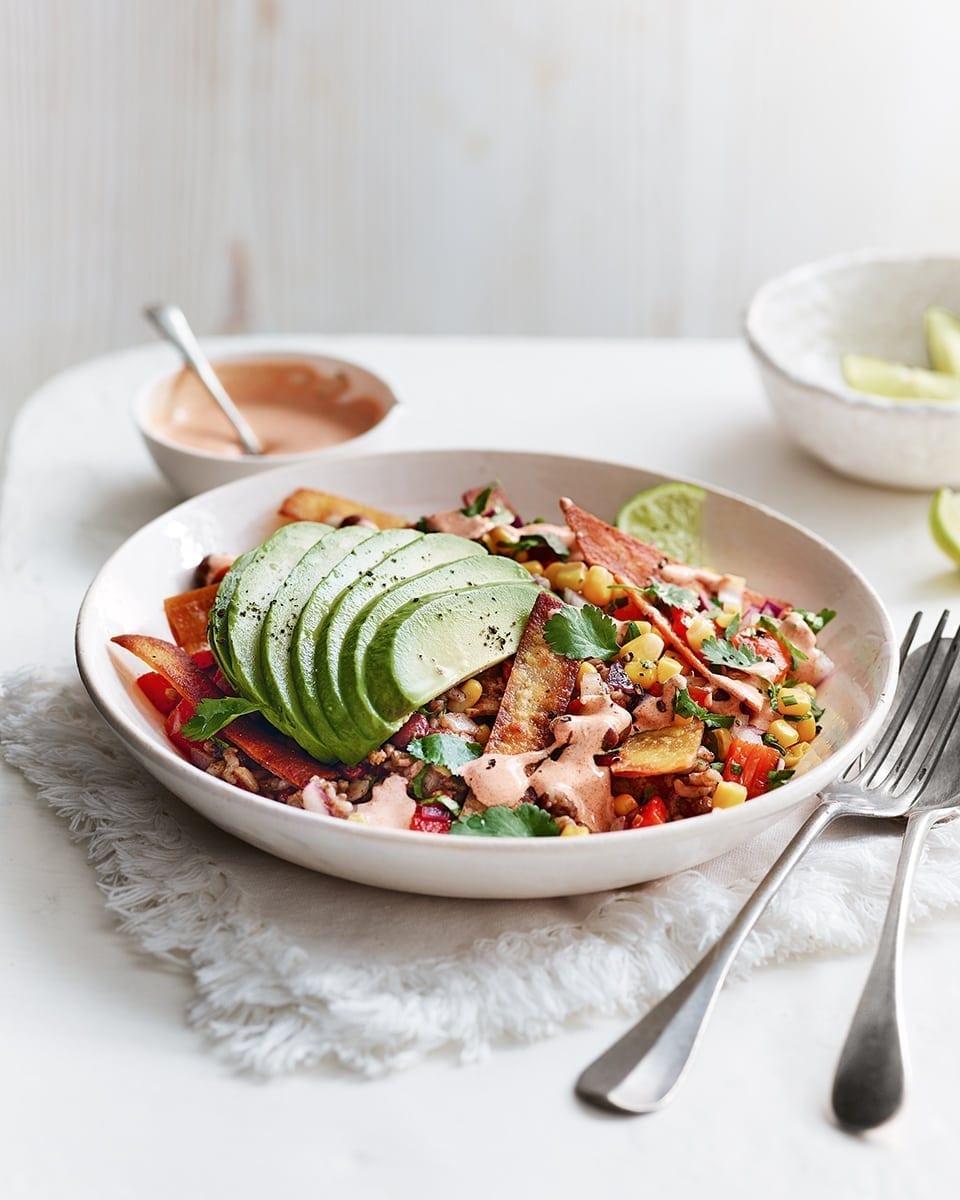 Crispy Mexican Tortilla Rice Bowl Recipe Delicious Magazine