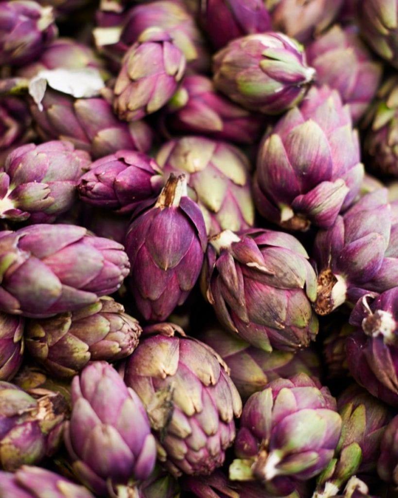 Image of seasonal purple artichokes