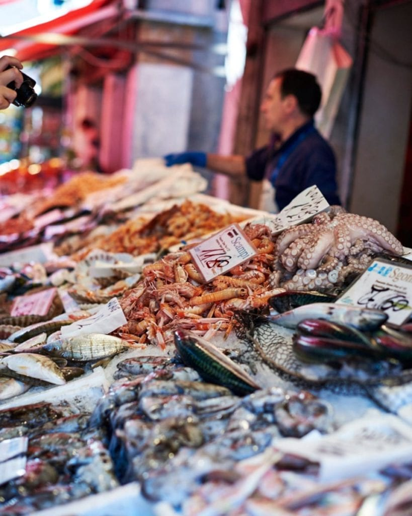 Image of seafood market stall in Venice