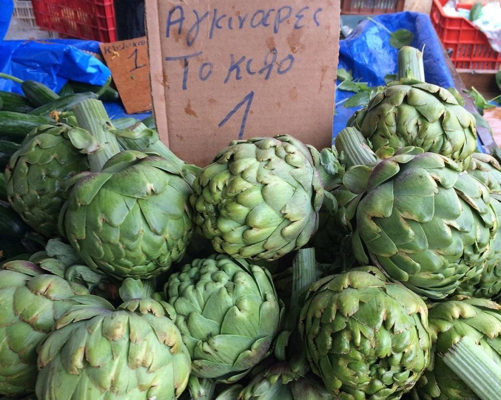 Image of giant artichokes at market