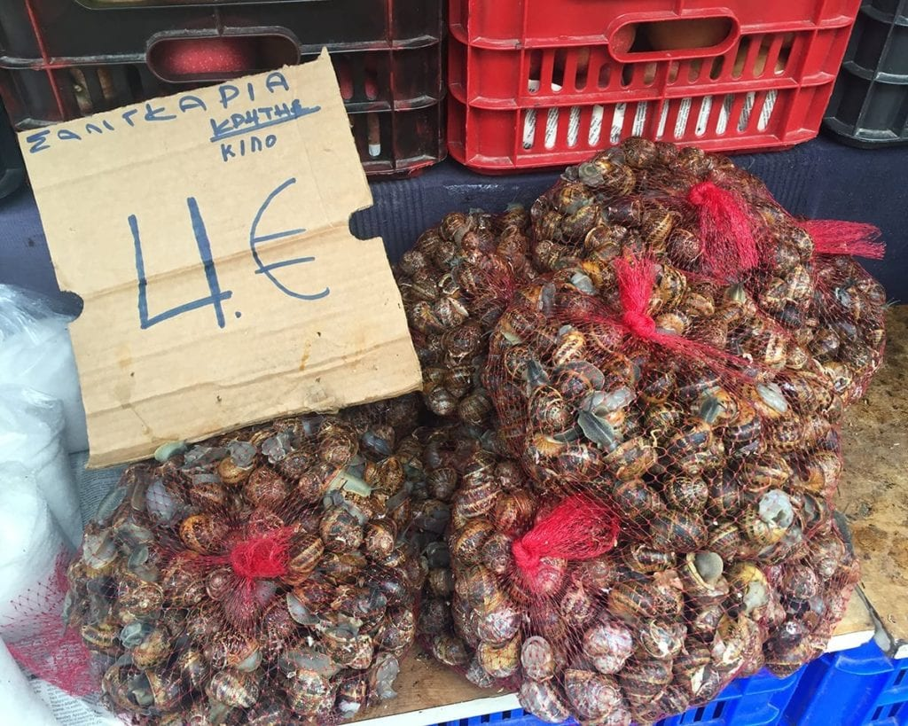Bags of snails at a market in Crete