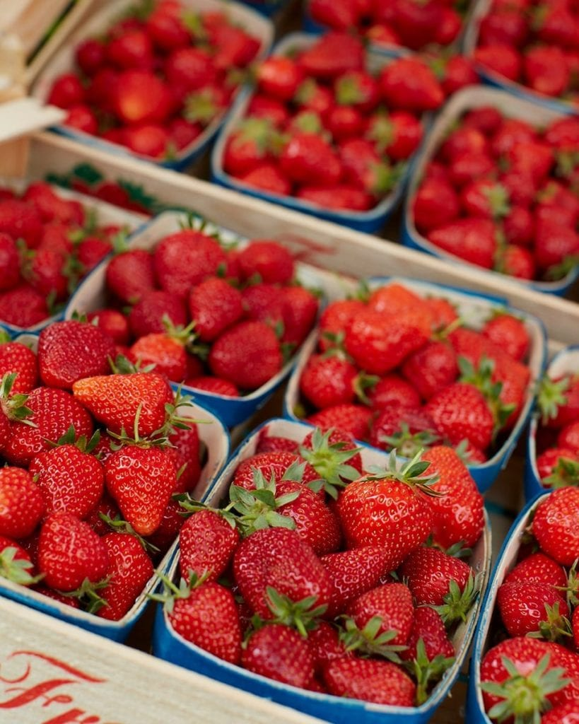 Image of strawberries for sale at French market