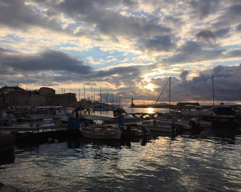 Image of Crete's port at dusk