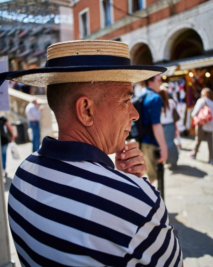 Image of gondolier deep in thought