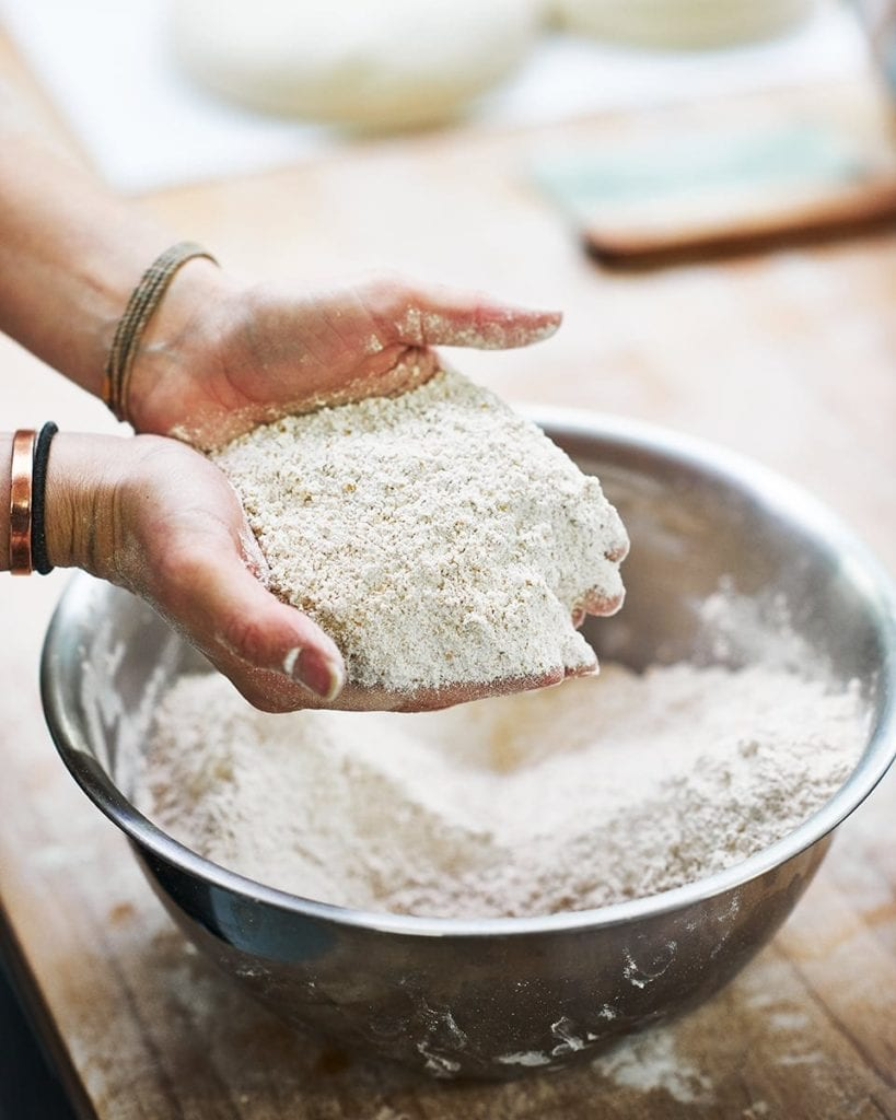 image of hands full of flour