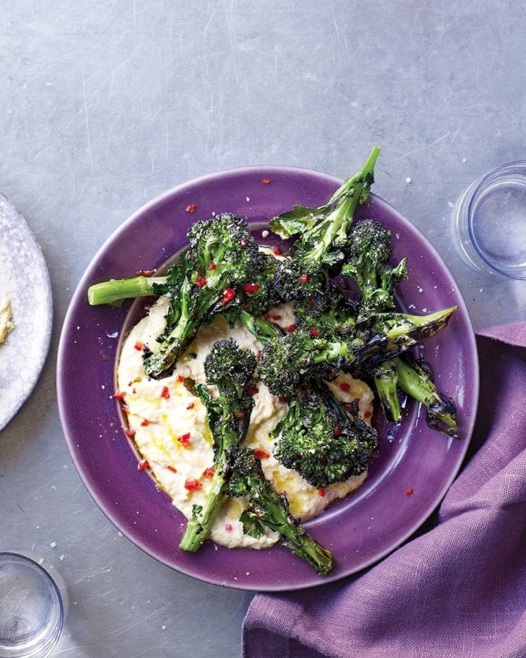 Charred broccoli with anchovy and tahini sauce