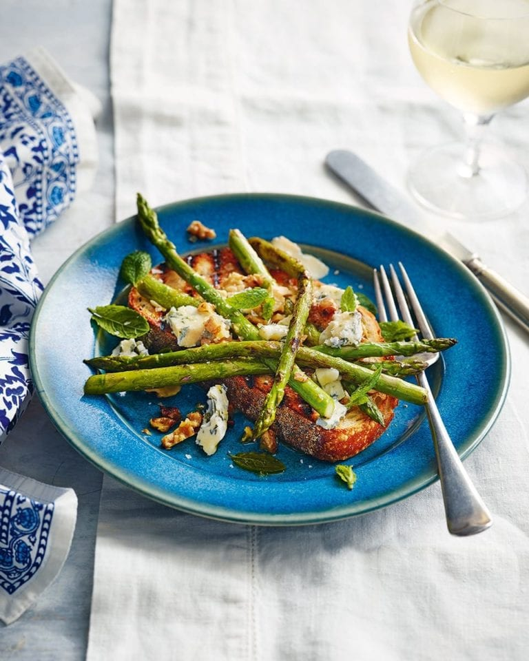 Russell's asparagus, gorgonzola, walnut and mint bruschetta