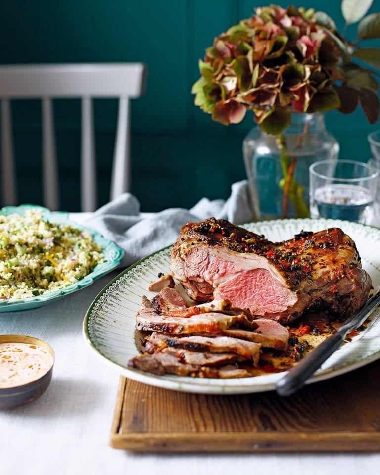 Butterflied marinated leg of lamb with couscous salad and harissa yogurt