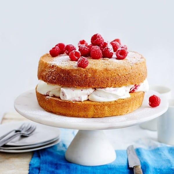 Image of sponge cake with raspberries and cream