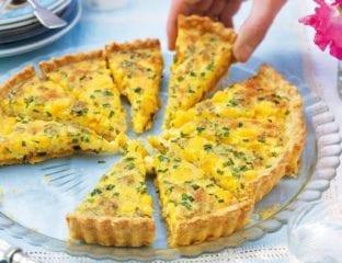Three-cheese and chive tart