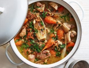 Chicken stew with lemon and herb crumb topping