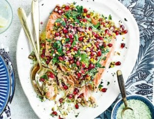 Confit salmon with mint and coriander chutney and pomegranate and pistachio chaat