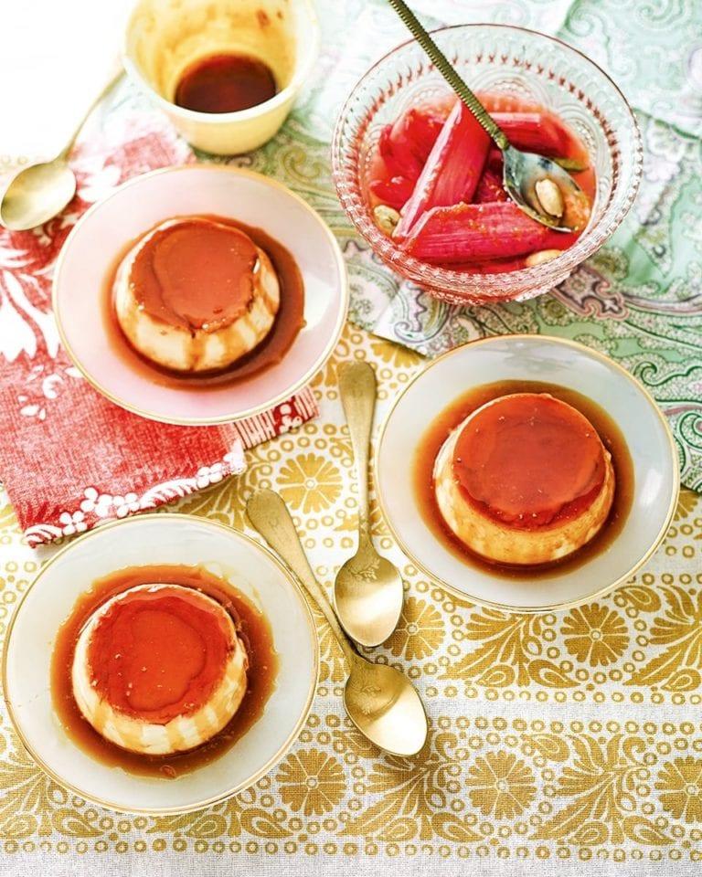 Saffron and orange blossom crème caramels with cardamom and orange rhubarb