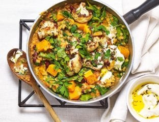 Spinach dhal with roasted cauliflower and squash