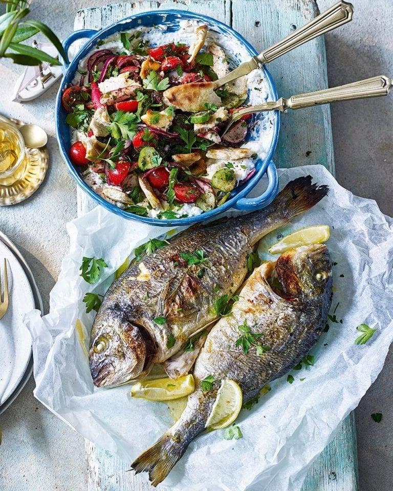 Fattoush salad with chargrilled sea bream