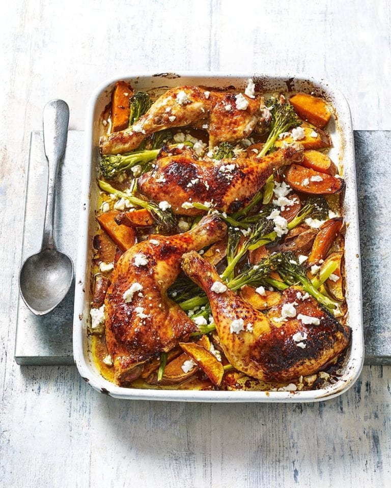 Pomegranate and sweet potato chicken traybake