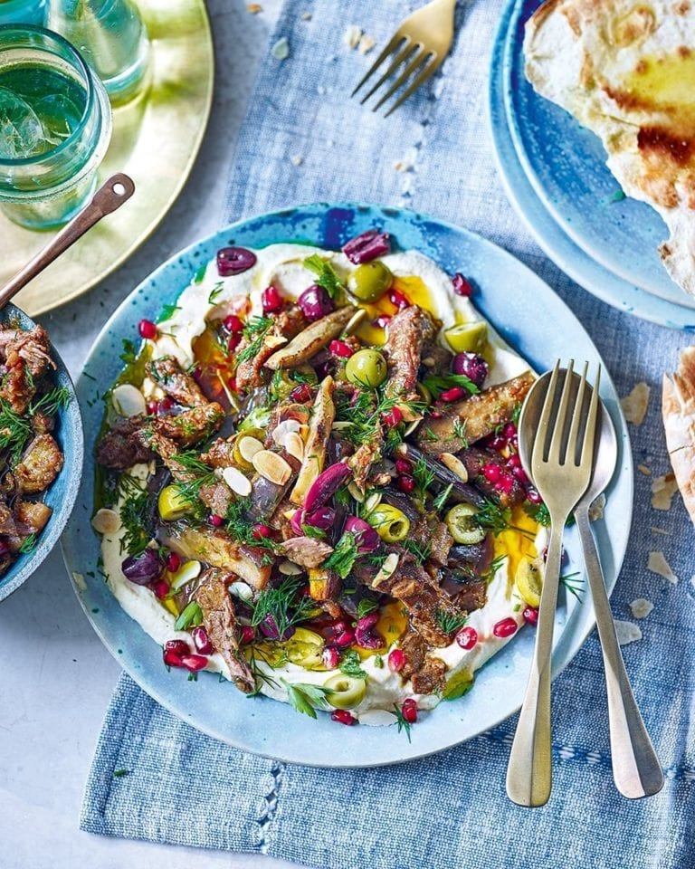 Lamb and aubergine stew with houmous