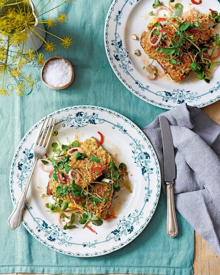 Crumbed breast of lamb with watercress and roquefort salad