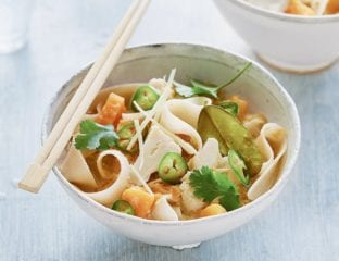 Butternut squash and cauliflower laksa with rice noodles