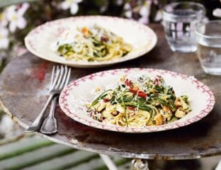 Lobster spaghetti with samphire and sheep's cheese