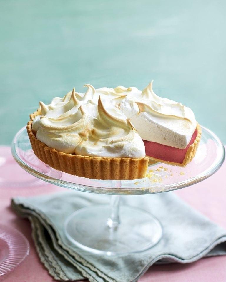 Raspberry curd meringue pie