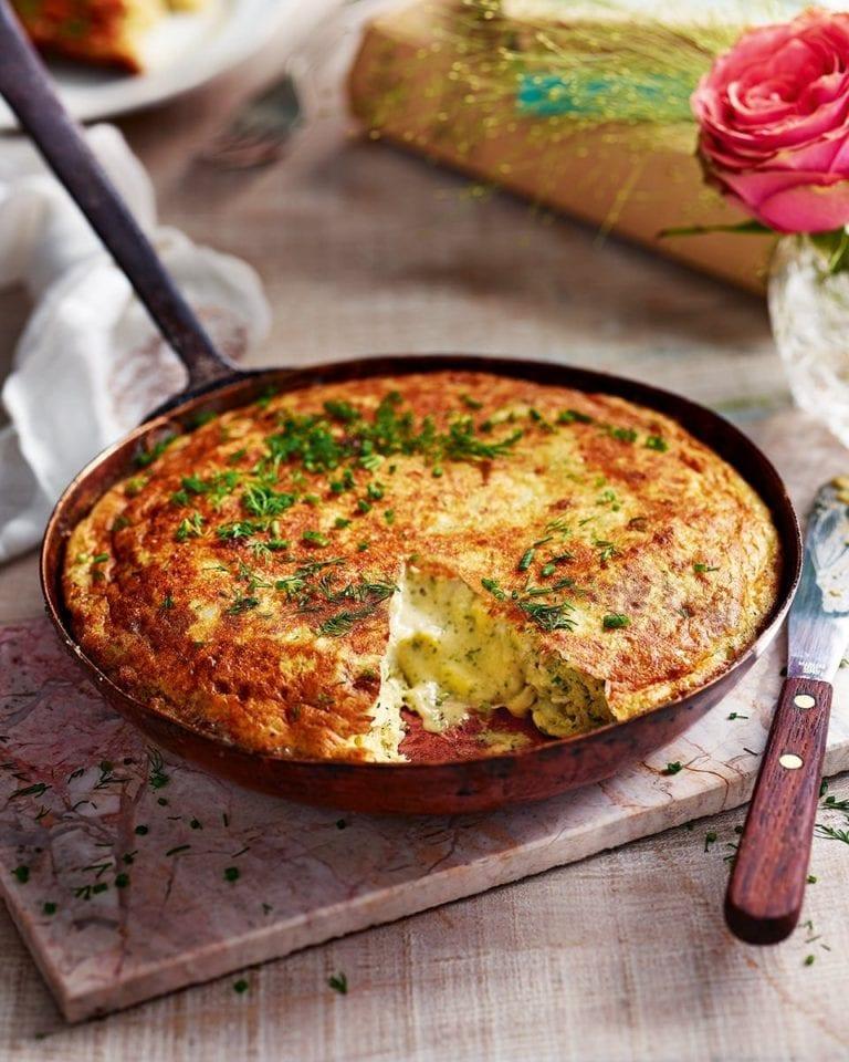 Omelette Arnold Bennett with horseradish & chives