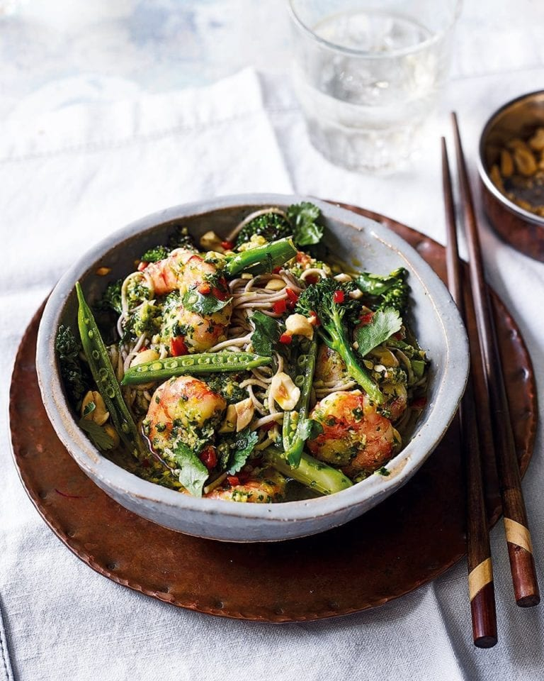 Soba noodle and prawn salad with coriander and peanut pesto