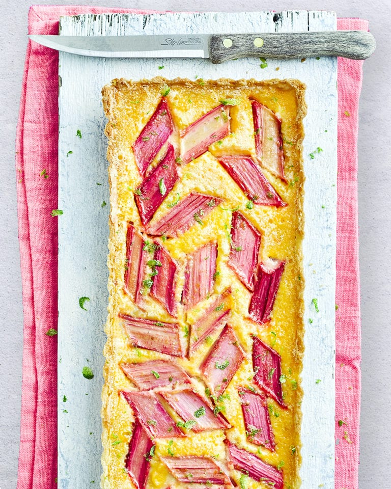 Rhubarb, lime and ginger custard tart