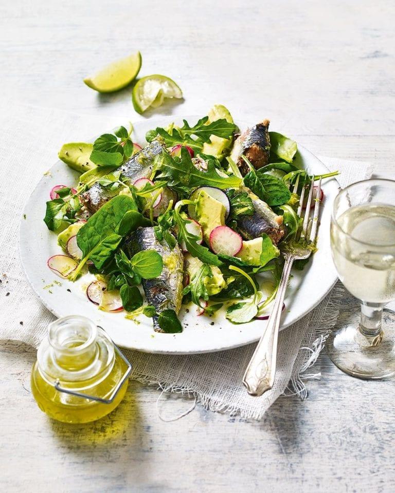Sardines with watercress salad