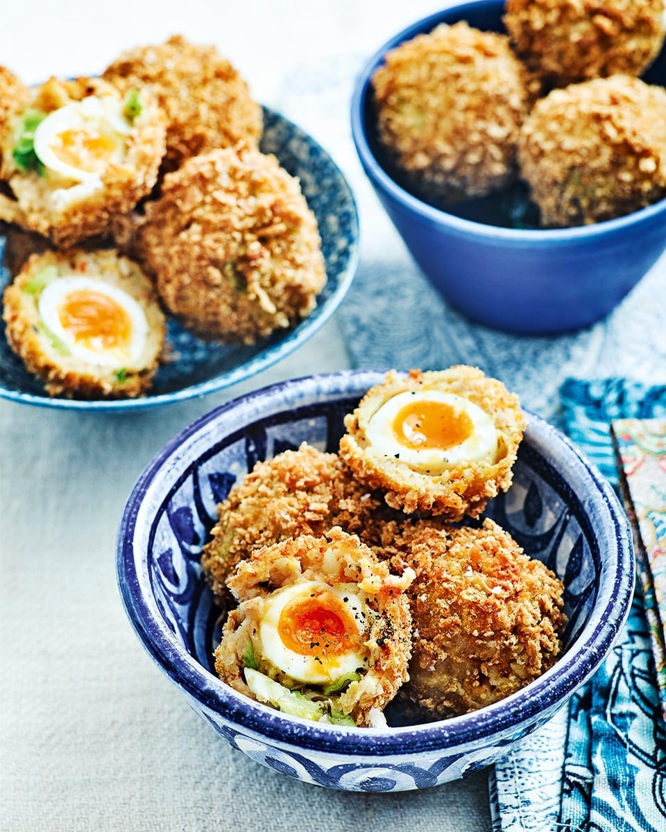 Prawn toast scotch eggs recipe | delicious. magazine