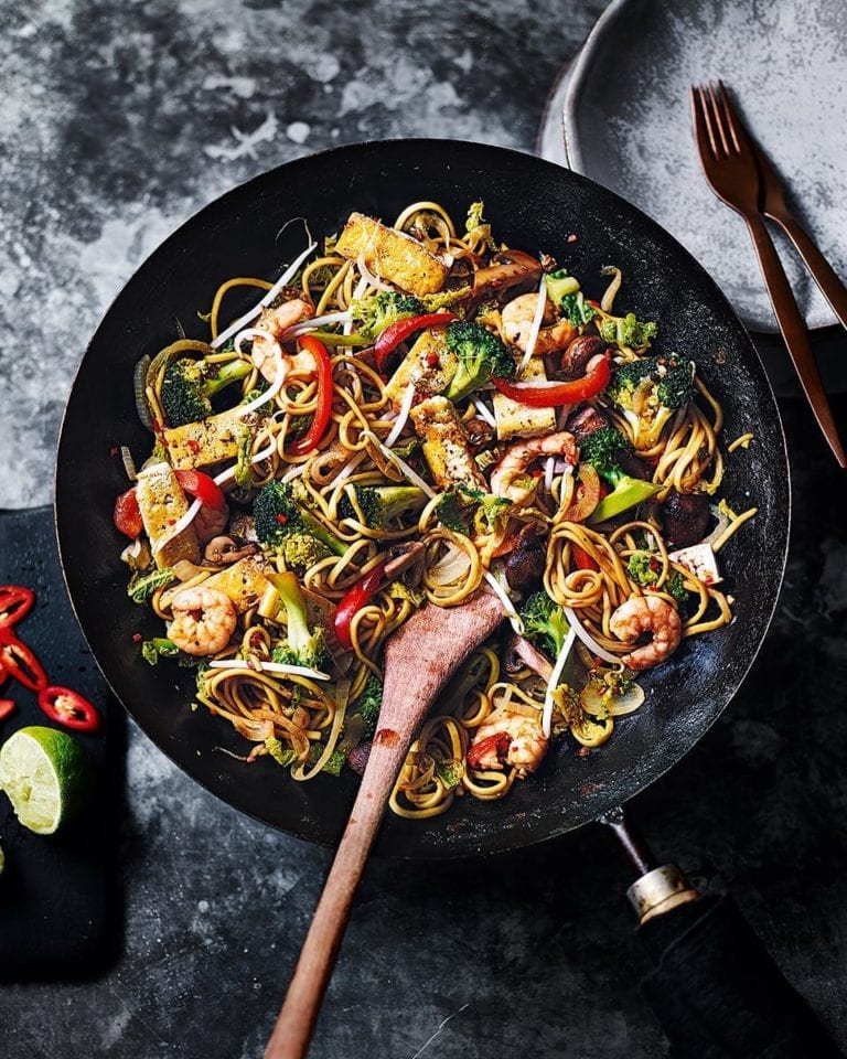 Prawn, cabbage and sichuan pepper stir-fry