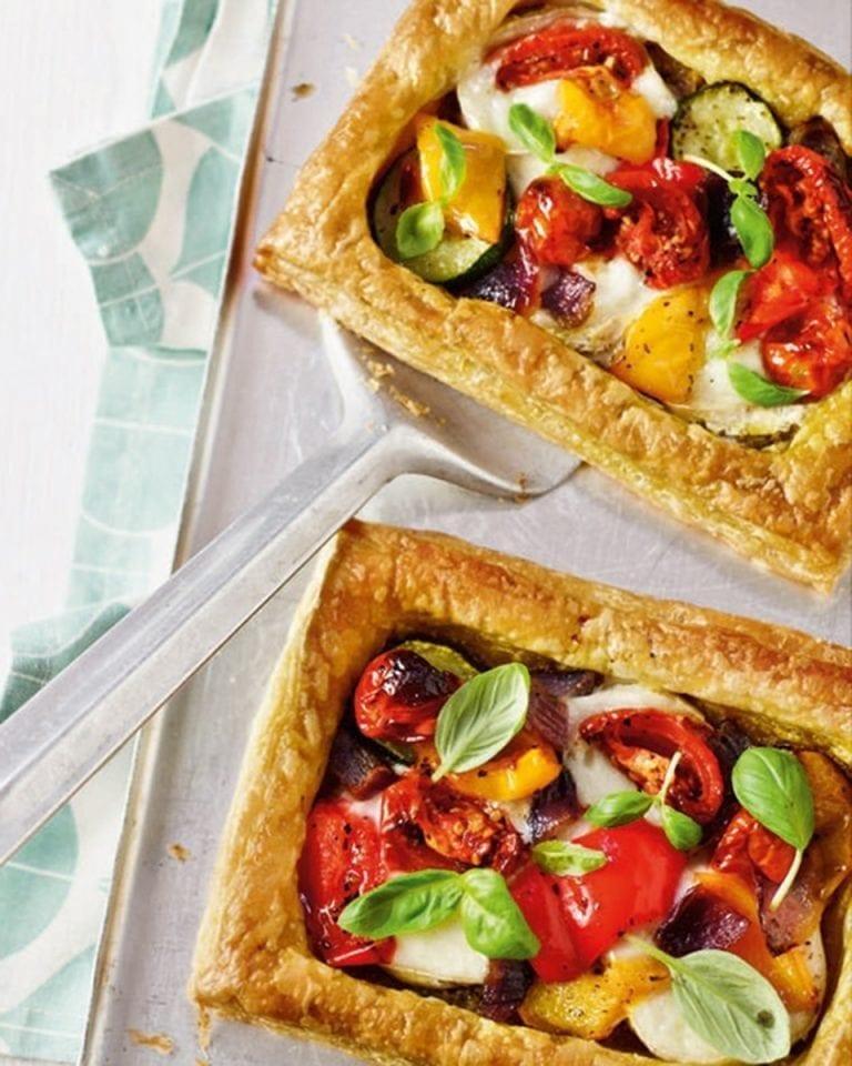 Mediterranean veg, pesto and goat's cheese tarts