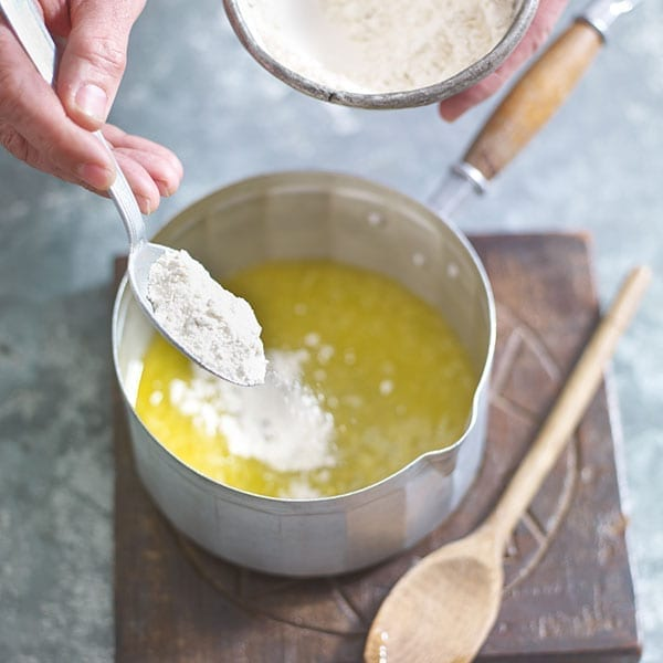 Add flour to the butter
