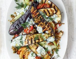 Aubergine steaks with freekeh salad and buttermilk dressing