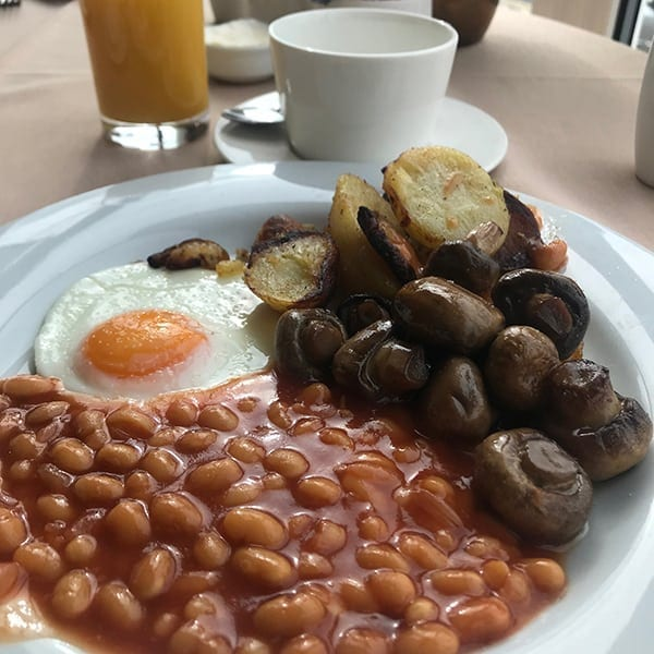 Image of beans, eggs, mushrooms and potatoes on plate