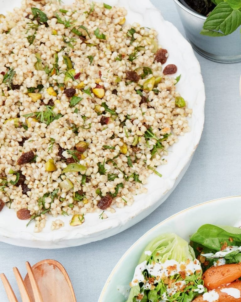 Fruit and herb buckwheat salad