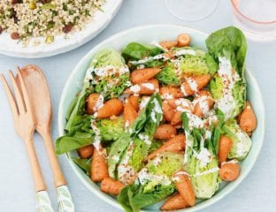 Roasted baby carrot salad with creamy feta dressing