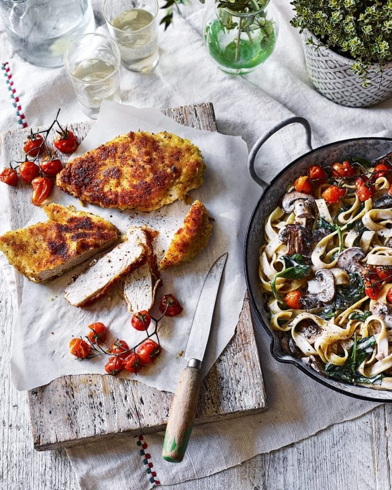 Mushroom tagliatelle alfredo with chicken milanese