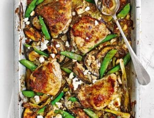Chicken, feta, tahini and aubergine traybake
