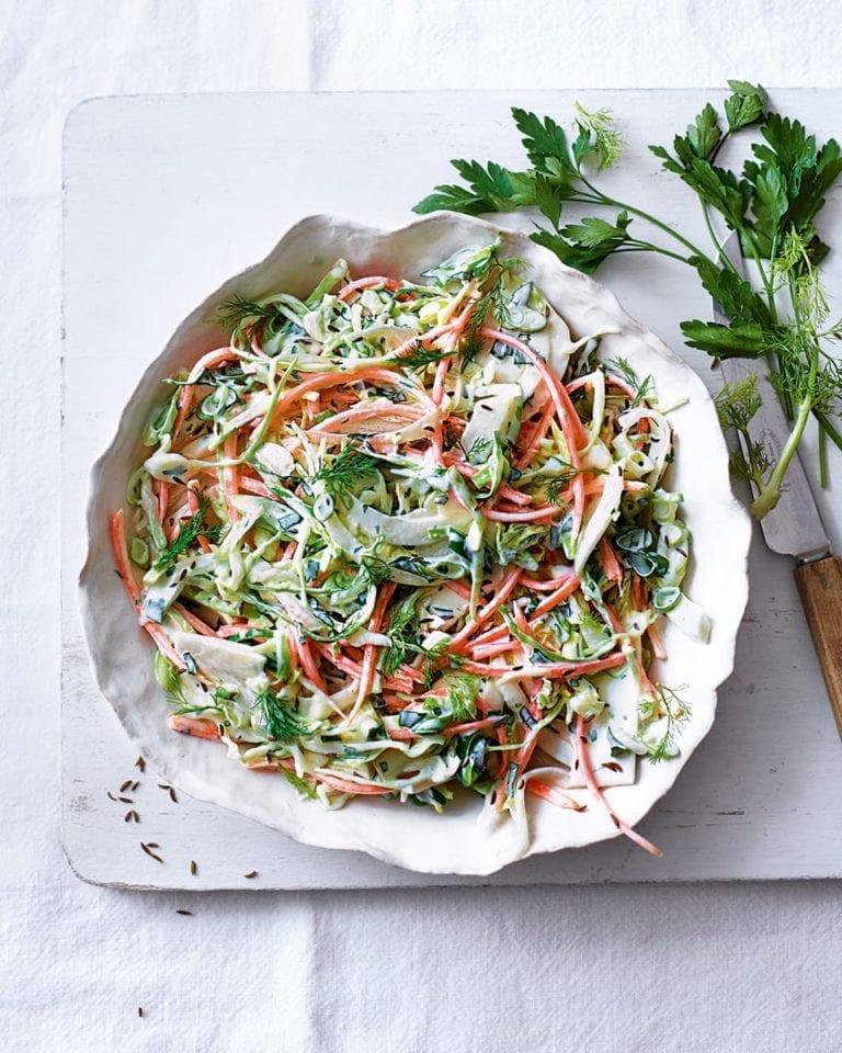 Lighter creamy coleslaw