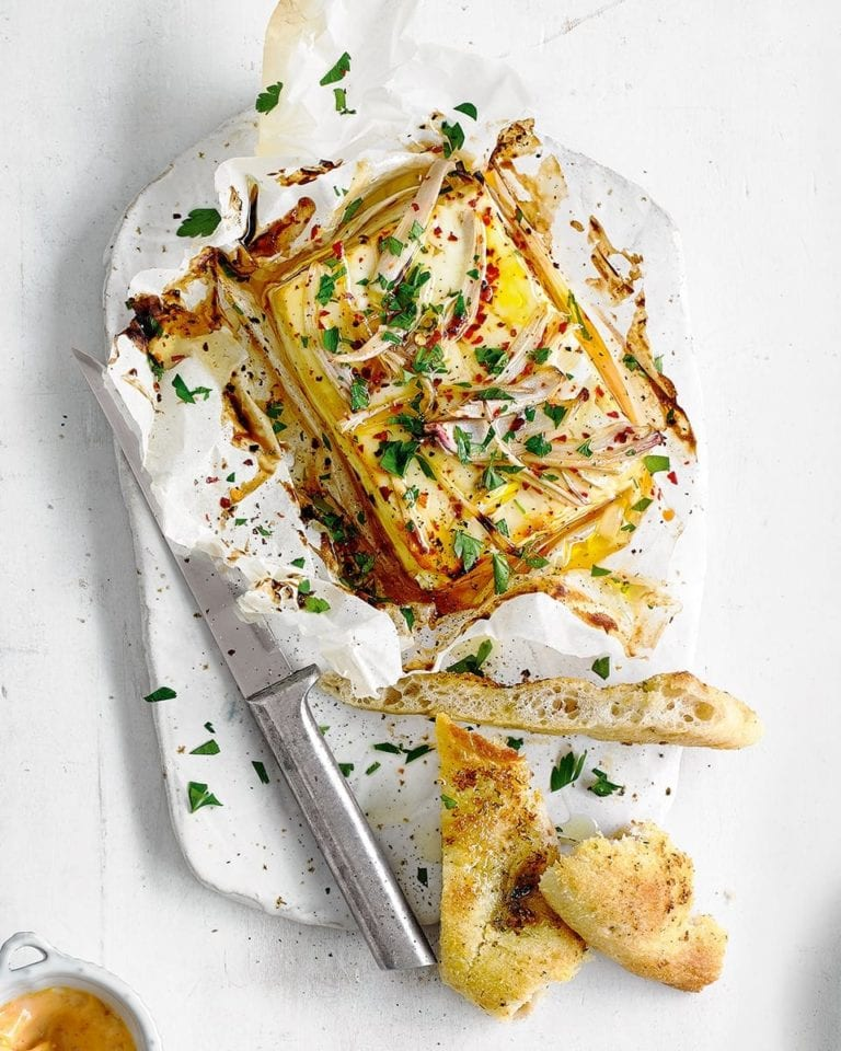 Baked feta with honey, chilli and parsley