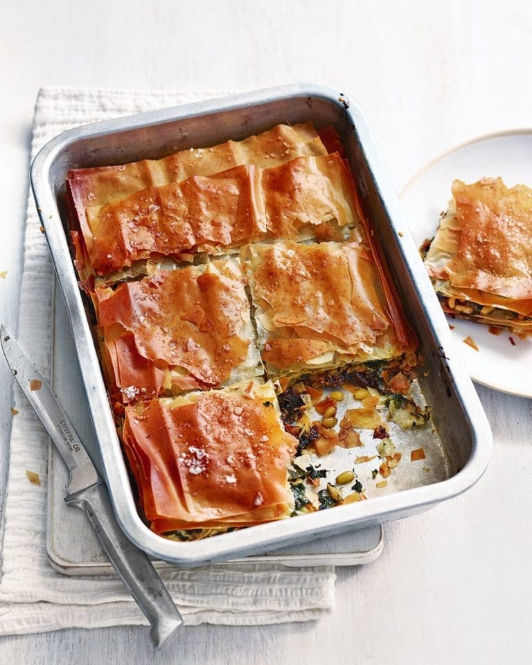 Caramelised onion, spinach and goat's cheese filo pie