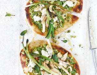 Chicken and spring  green flatbreads