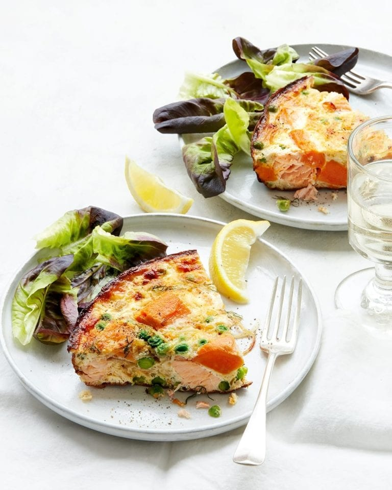 Salmon, sweet potato and pea frittata