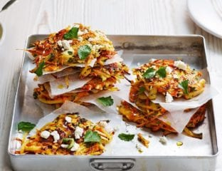 Carrot fritters with spiced yogurt