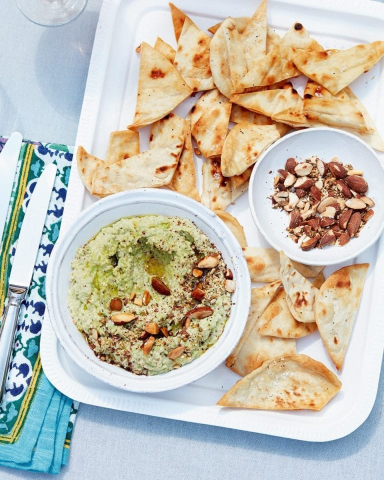 Green houmous with smoked almond dukkah