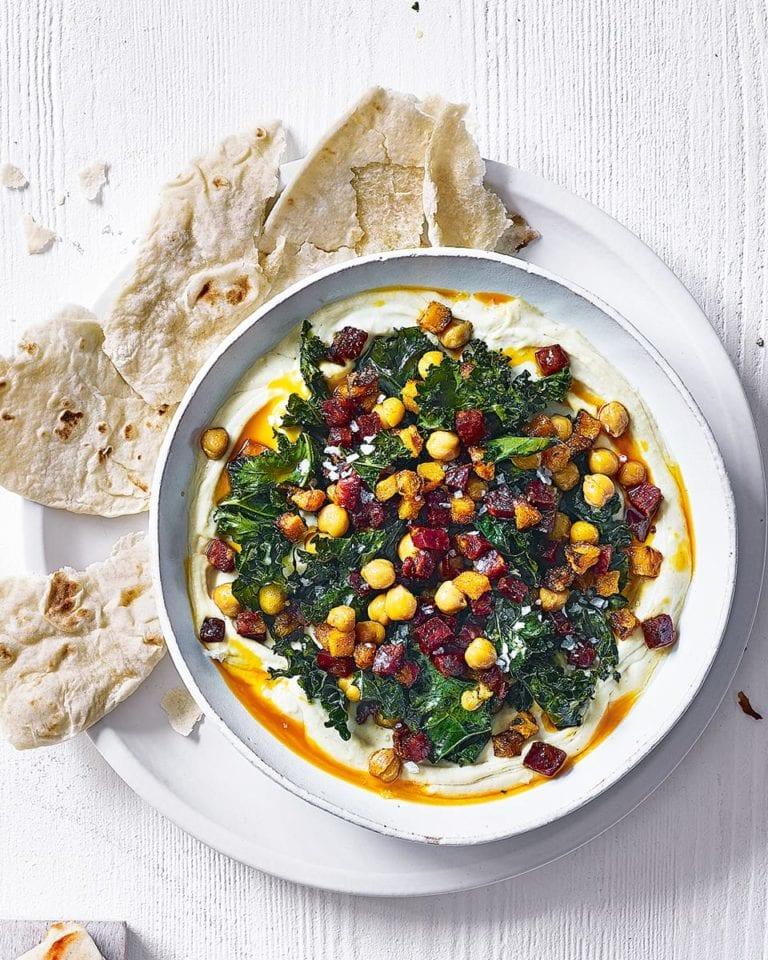 Houmous bowl with chorizo and crispy kale