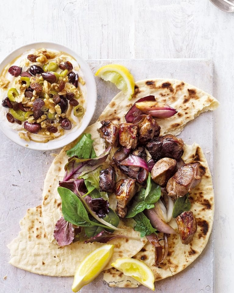Lamb shish with olive and walnut tahini